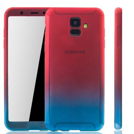 Samsung Galaxy A6 2018 Handy-Hülle Schutz-Case Full-Cover Panzer Schutz Glas Pink / Blau