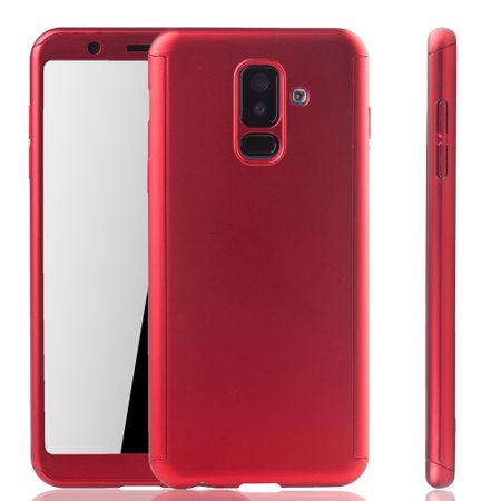 Samsung Galaxy A6+ Plus 2018 Handy-Hülle Schutz-Case Full-Cover Panzer Schutz Glas Rot