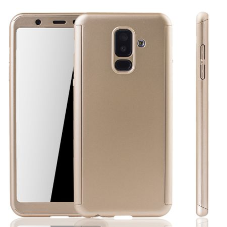 Samsung Galaxy A6+ Plus 2018 Handy-Hülle Schutz-Case Full-Cover Panzer Schutz Glas Gold