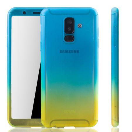 Samsung Galaxy A6+ Plus 2018 Handy-Hülle Schutz-Case Full-Cover Panzer Schutz Glas Blau / Gelb