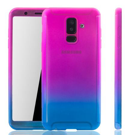 Samsung Galaxy A6+ Plus 2018 Handy-Hülle Schutz-Case Full-Cover Panzer Schutz Glas Pink / Blau