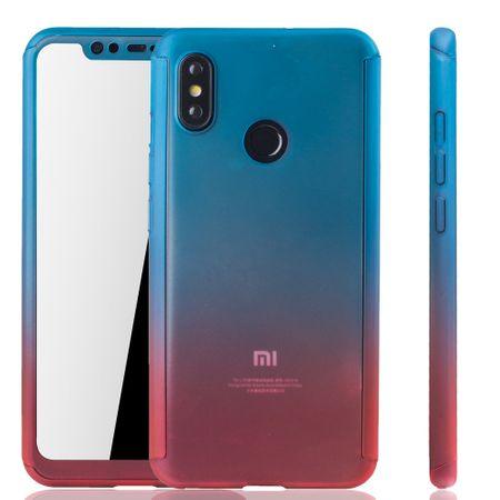 Xiaomi Mi 8 Handy-Hülle Schutz-Case Full-Cover Panzer Schutz Glas Blau / Rot