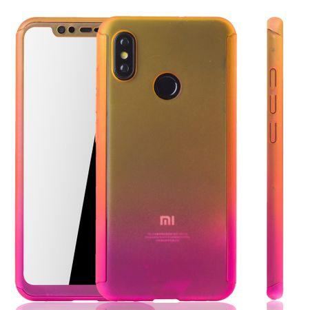 Xiaomi Mi 8 Handy-Hülle Schutz-Case Full-Cover Panzer Schutz Glas Gelb / Pink