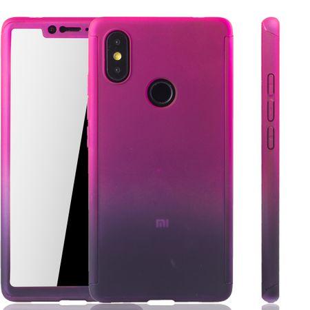 Xiaomi Mi 8 SE Handy-Hülle Schutz-Case Cover Panzer Schutz Glas Pink / Violett