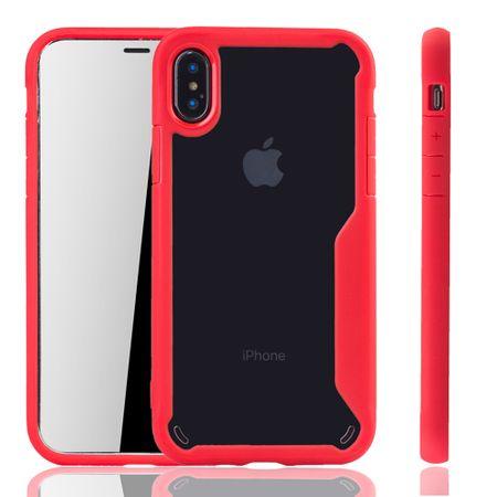 Rote Premium Apple iPhone X / iPhone XS Hybrid-Editon Hülle | Unterstützt Kabelloses Laden | aus edlem Acryl mit weichem Silikonrand Rot