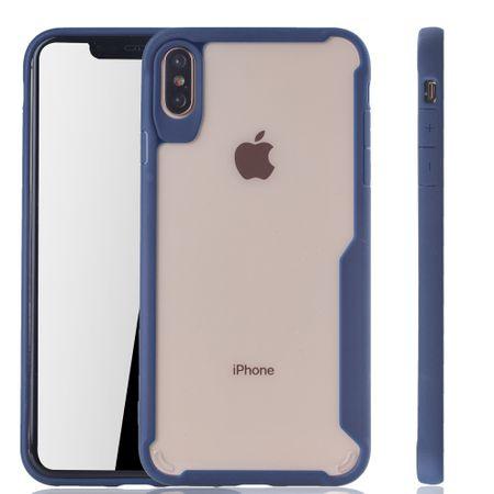 Blaue Premium Apple iPhone XS Max Hybrid-Editon Hülle | Unterstützt Kabelloses Laden | aus edlem Acryl mit weichem Silikonrand Blau