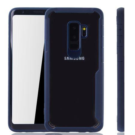 Blaue Premium Samsung Galaxy S9 Plus Hybrid-Editon Hülle | Unterstützt Kabelloses Laden | aus edlem Acryl mit weichem Silikonrand Blau