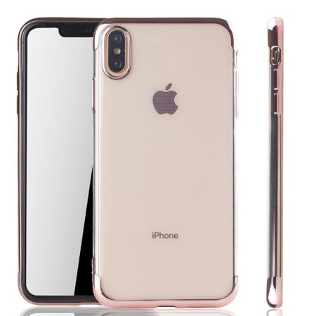 Handyhülle für Apple iPhone XS Max Rose Pink - Clear - TPU Silikon Case Backcover Schutzhülle in Transparent / glänzender Rand Rose Pink