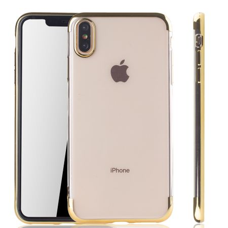 Handyhülle für Apple iPhone XS Max Gold - Clear - TPU Silikon Case Backcover Schutzhülle in Transparent / glänzender Rand Gold