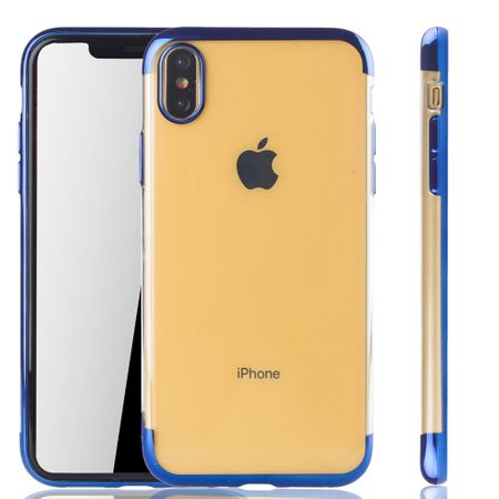 Handyhülle für Apple iPhone XS Max Blau - Clear - TPU Silikon Case Backcover Schutzhülle in Transparent / glänzender Rand Blau