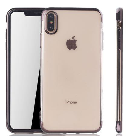Handyhülle für Apple iPhone XS Max Schwarz - Clear - TPU Silikon Case Backcover Schutzhülle in Transparent / glänzender Rand Schwarz