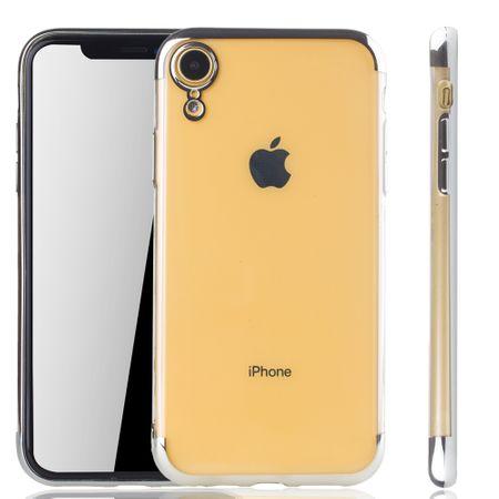 Handyhülle für Apple iPhone XR Silber - Clear - TPU Silikon Case Backcover Schutzhülle in Transparent / glänzender Rand Silber
