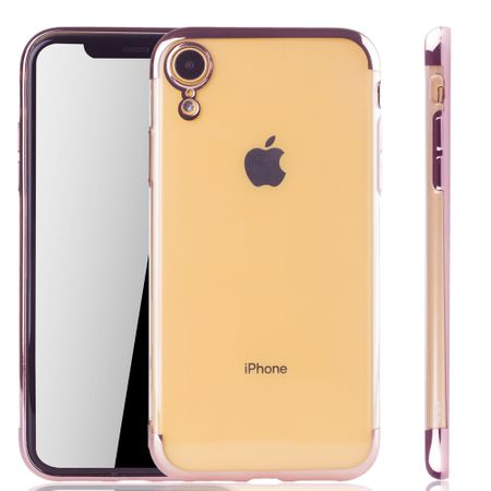 Handyhülle für Apple iPhone XR Rose Pink - Clear - TPU Silikon Case Backcover Schutzhülle in Transparent / glänzender Rand Rose Pink