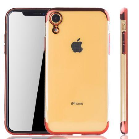 Handyhülle für Apple iPhone XR Rot - Clear - TPU Silikon Case Backcover Schutzhülle in Transparent / glänzender Rand Rot