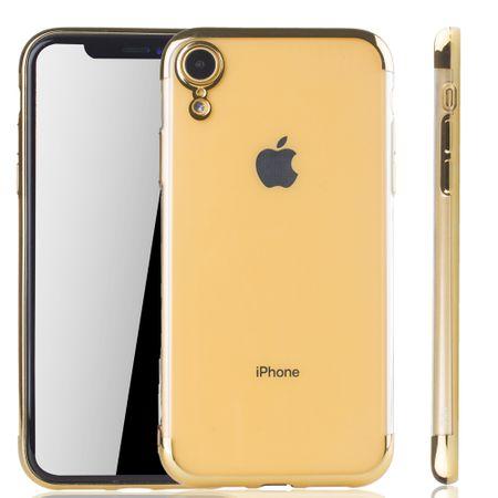 Handyhülle für Apple iPhone XR Gold - Clear - TPU Silikon Case Backcover Schutzhülle in Transparent / glänzender Rand Gold