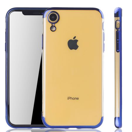 Handyhülle für Apple iPhone XR Blau - Clear - TPU Silikon Case Backcover Schutzhülle in Transparent / glänzender Rand Blau