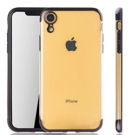 Handyhülle für Apple iPhone XR Schwarz - Clear - TPU Silikon Case Backcover Schutzhülle in Transparent / glänzender Rand Schwarz