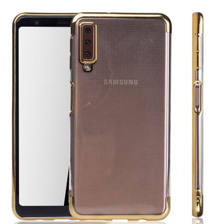 Handyhülle für Samsung Galaxy A7 2018 Gold - Clear - TPU Silikon Case Backcover Schutzhülle in Transparent / glänzender Rand Gold
