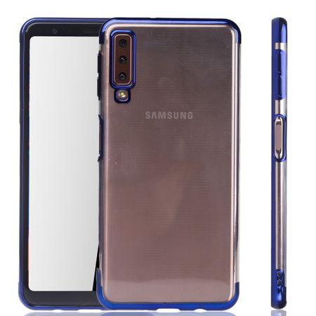 Handyhülle für Samsung Galaxy A7 2018 Blau - Clear - TPU Silikon Case Backcover Schutzhülle in Transparent / glänzender Rand Blau
