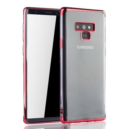 Handyhülle für Samsung Galaxy Note 9 Rot - Clear - TPU Silikon Case Backcover Schutzhülle in Transparent / glänzender Rand Rot – Bild 2