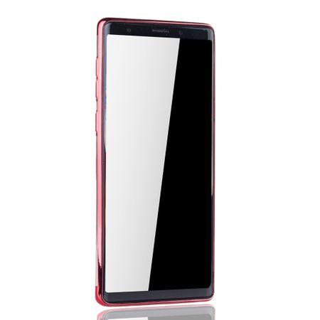 Handyhülle für Samsung Galaxy Note 9 Rot - Clear - TPU Silikon Case Backcover Schutzhülle in Transparent / glänzender Rand Rot – Bild 3