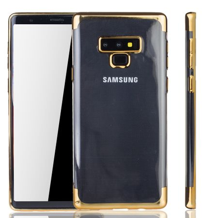 Handyhülle für Samsung Galaxy Note 9 Gold - Clear - TPU Silikon Case Backcover Schutzhülle in Transparent / glänzender Rand Gold