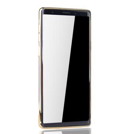 Handyhülle für Samsung Galaxy Note 9 Gold - Clear - TPU Silikon Case Backcover Schutzhülle in Transparent / glänzender Rand Gold – Bild 3