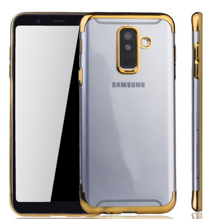 Handyhülle für Samsung Galaxy A6 Plus Gold - Clear - TPU Silikon Case Backcover Schutzhülle in Transparent / glänzender Rand Gold