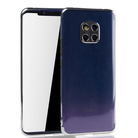 Handyhülle für Huawei Mate 20 Pro Silber - Clear - TPU Silikon Case Backcover Schutzhülle in Transparent / glänzender Rand Silber – Bild 2