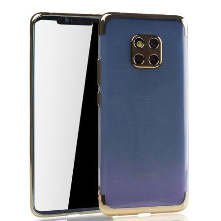 Handyhülle für Huawei Mate 20 Pro Gold - Clear - TPU Silikon Case Backcover Schutzhülle in Transparent / glänzender Rand Gold – Bild 2