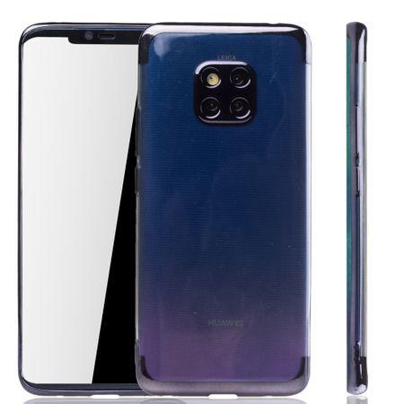 Handyhülle für Huawei Mate 20 Pro Schwarz - Clear - TPU Silikon Case Backcover Schutzhülle in Transparent / glänzender Rand Schwarz