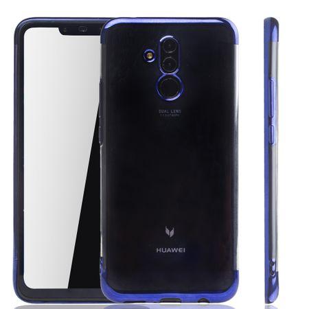 Handyhülle für Huawei Mate 20 Lite Blau - Clear - TPU Silikon Case Backcover Schutzhülle in Transparent / glänzender Rand Blau