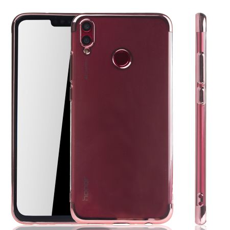 Handyhülle für Huawei Honor 8X Rose Pink - Clear - TPU Silikon Case Backcover Schutzhülle in Transparent / glänzender Rand Rose Pink