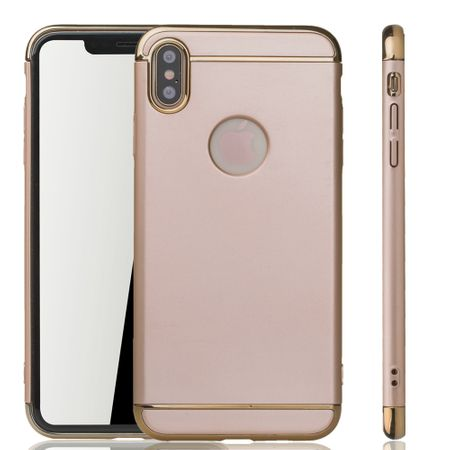 Apple iPhone XS Max Handy Hülle Schutz Case Bumper Hard Cover Gold