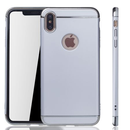 Apple iPhone XS Max Handy Hülle Schutz Case Bumper Hard Cover Silber