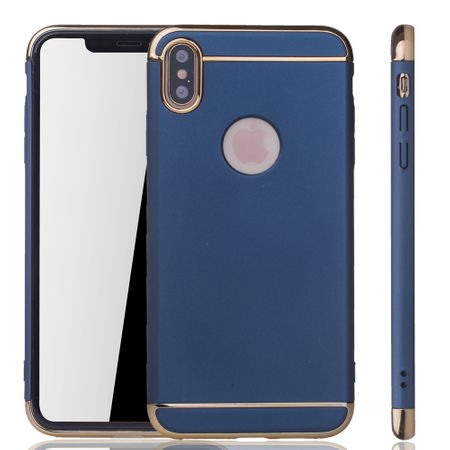 Apple iPhone XS Max Handy Hülle Schutz Case Bumper Hard Cover Blau