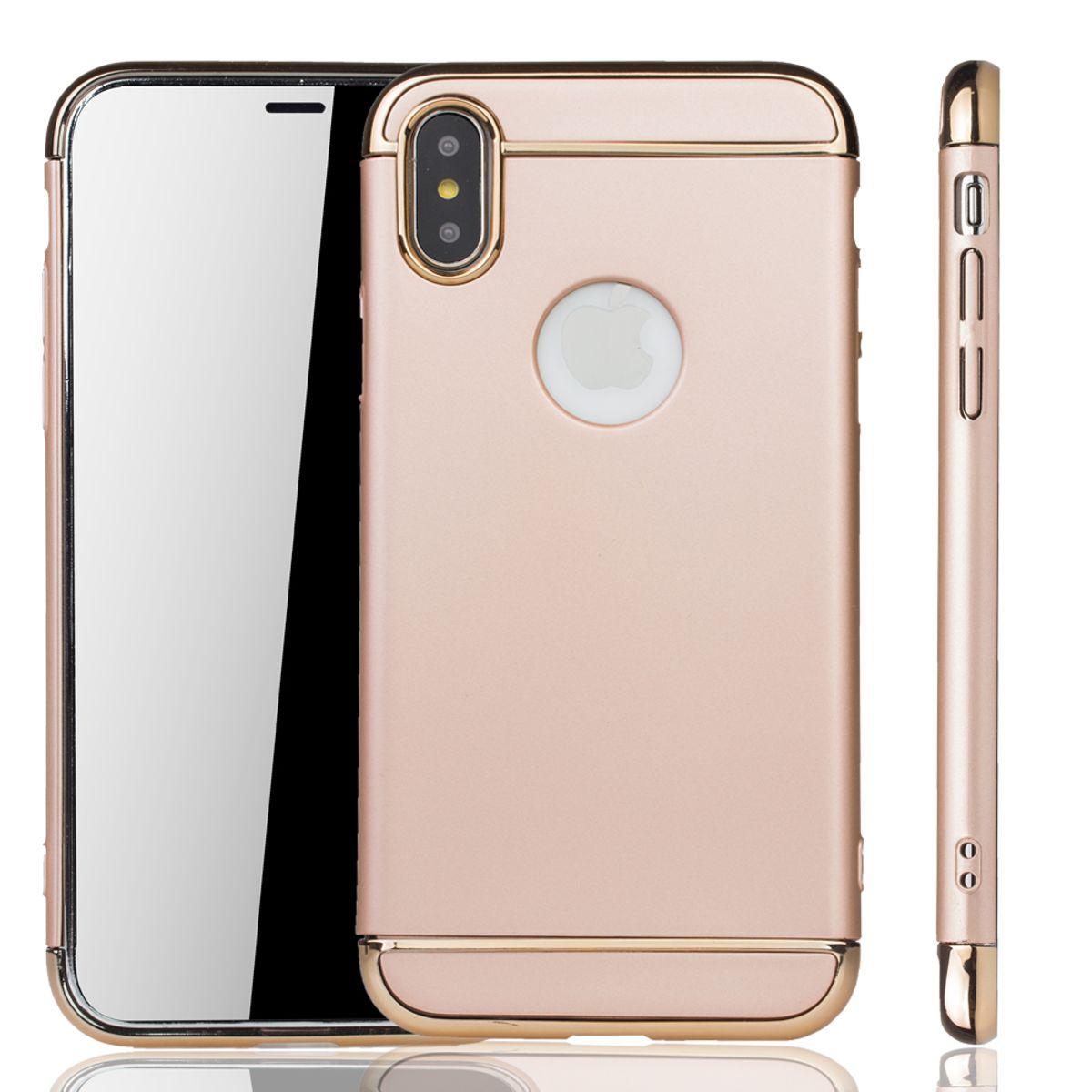 apple iphone xs handy h lle schutz case bumper hard cover gold