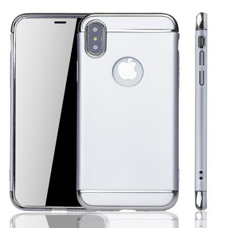 Apple iPhone XS Handy Hülle Schutz Case Bumper Hard Cover Silber