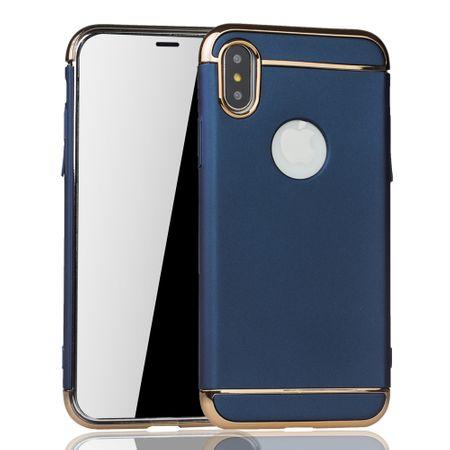 Apple iPhone XS Handy Hülle Schutz Case Bumper Hard Cover Blau – Bild 2