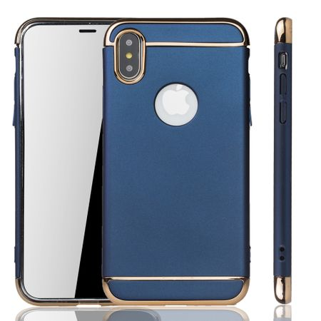 Apple iPhone XS Handy Hülle Schutz Case Bumper Hard Cover Blau