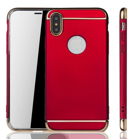 Apple iPhone XS Handy Hülle Schutz Case Bumper Hard Cover Rot