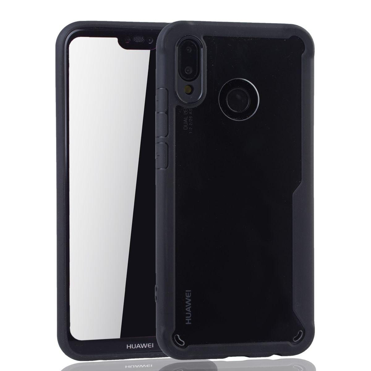 Schwarze Premium Huawei P20 Lite Hybrid Editon Hülle   Unterstützt  Kabelloses Laden   aus edlem Acryl mit weichem Silikonrand Schwarz