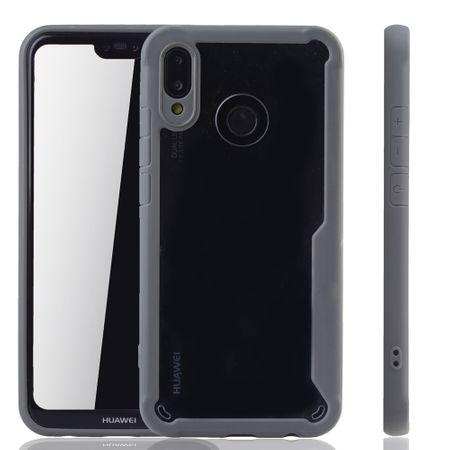 Graue Premium Huawei P20 Lite Hybrid-Editon Hülle | Unterstützt Kabelloses Laden | aus edlem Acryl mit weichem Silikonrand Grau