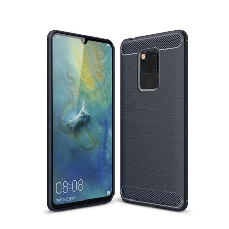 Huawei Mate 20 X TPU Case Carbon Fiber Optik Brushed Schutz Hülle Blau