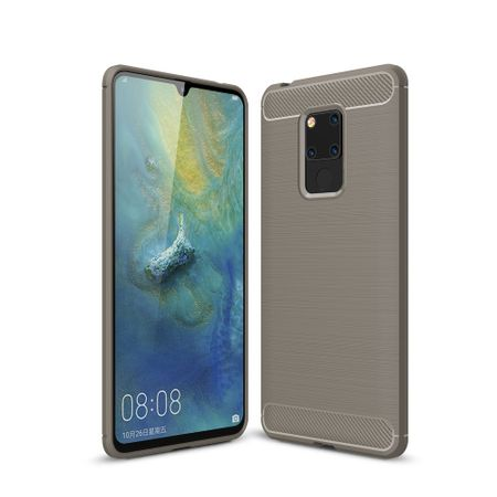 Huawei Mate 20 X TPU Case Carbon Fiber Optik Brushed Schutz Hülle Grau