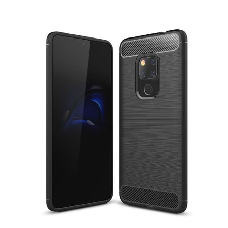 Huawei Mate 20 TPU Case Carbon Fiber Optik Brushed Schutz Hülle Schwarz