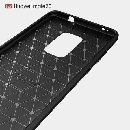 Huawei Mate 20 TPU Case Carbon Fiber Optik Brushed Schutz Hülle Schwarz – Bild 3