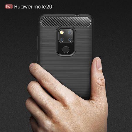 Huawei Mate 20 TPU Case Carbon Fiber Optik Brushed Schutz Hülle Schwarz – Bild 8