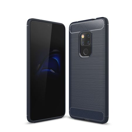 Huawei Mate 20 TPU Case Carbon Fiber Optik Brushed Schutz Hülle Blau
