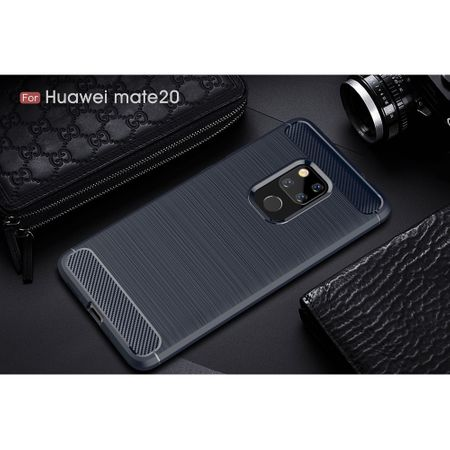 Huawei Mate 20 TPU Case Carbon Fiber Optik Brushed Schutz Hülle Blau – Bild 2
